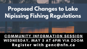 Info Session: Proposed Changes to Lake Nipissing Fishing Regulations @ Online via Zoom